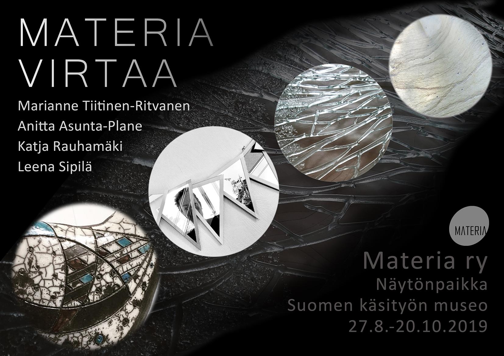 Materia virtaa -näyttelyjuliste